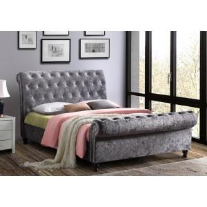 Birlea Castello Steel Crushed Velvet Bed Frame -