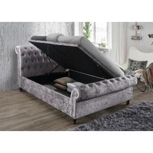 Birlea Castello Crushed Velvet Ottoman Bed Frame in Steel