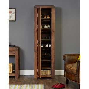 Baumhaus Shiro Walnut Shoe Cupboard Tall