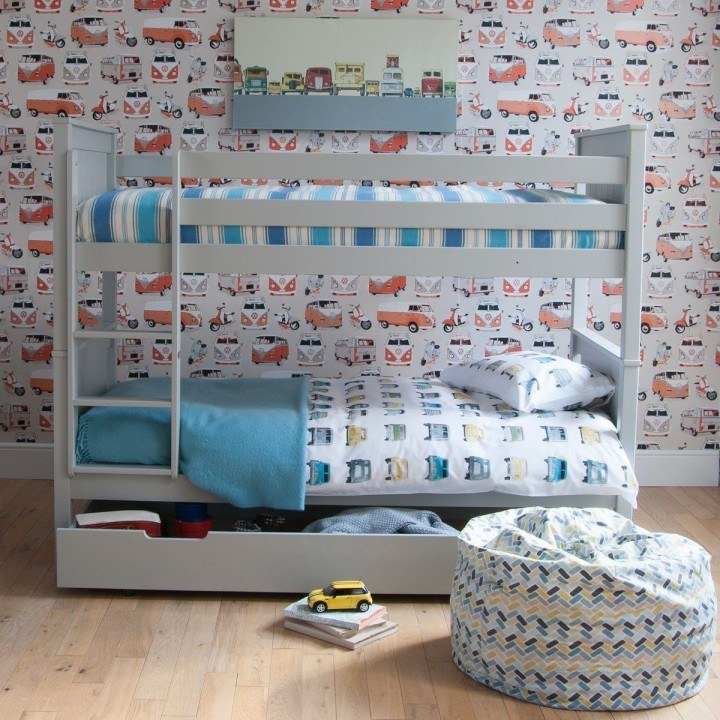 Little Folks Furniture Classic Beech Bunk Bed In Dove Grey