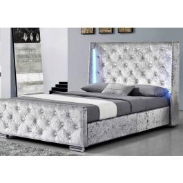 Sleep Design Dorchester LED Silver Crushed Velvet Bed Frame