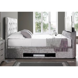 Kaydian Barnard Fabric Ottoman Multimedia Bed Frame in Silver Crushed Velvet-
