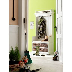 Nova Solo Halifax Entryway Coat Rack And Bench Unit With Cushion And Basket Set