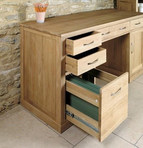baumhaus mobel oak twin pedestal computer desk color oak