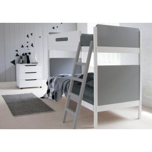 LITTLE FOLKS FURNITURE SIMPLE BUNK BED IN WHITE AND GREY CUT OUT