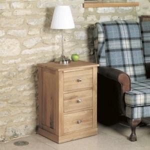 Baumhaus Mobel Oak Three Drawer Lamp Table