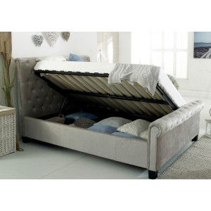 Flair Furnishings Lola Fabric Upholstered Sleigh Ottoman Bed Silver-