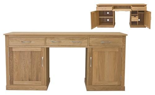office twin pedestal desk baumhaus mobel oak large hidden 6