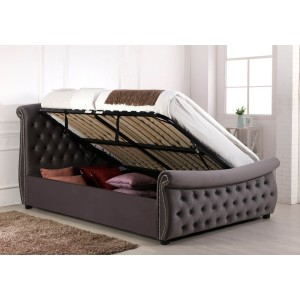 Flair Furnishings Lucinda Chesterfield Side Lift Ottoman Bed Silver Velvet-