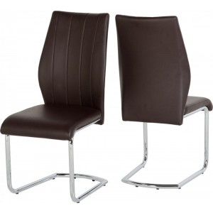Seconique Milan Chair Brown Faux Leather-