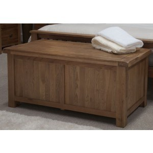 Homestyle Rustic Oak Blanket Box
