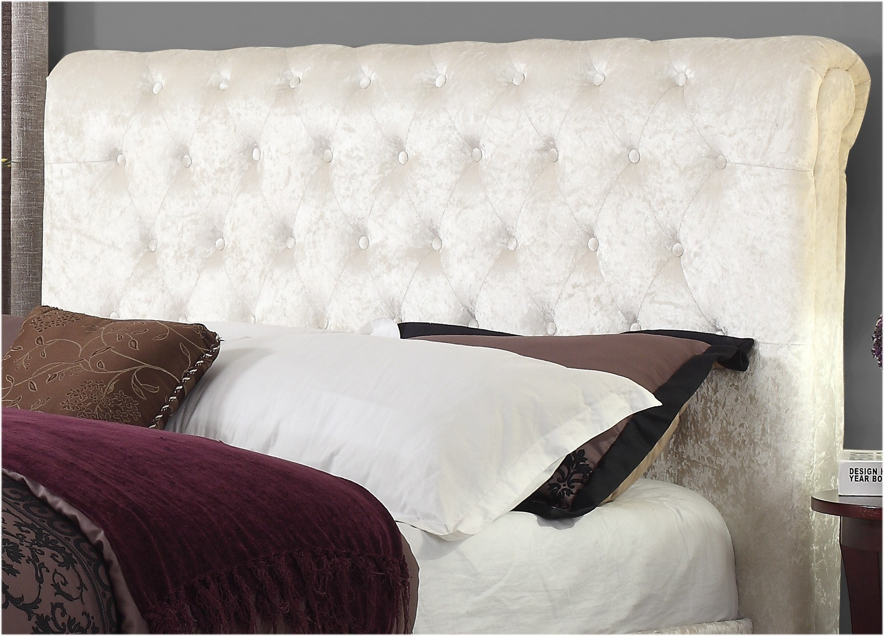 Sareer Stella Crushed Velvet Bed Frame | Sleigh Beds |