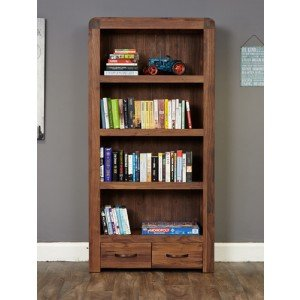 Baumhaus Shiro Walnut Large 2 Drawer Bookcase4