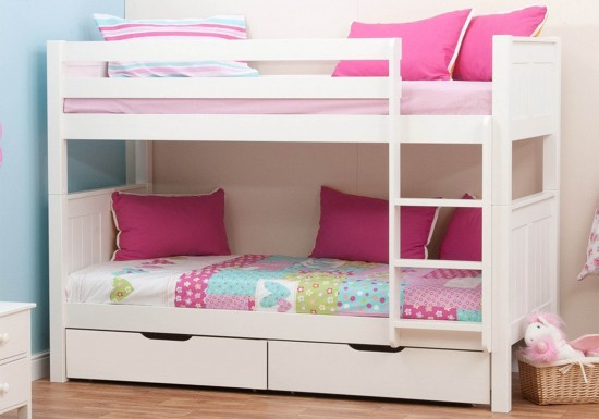 Stompa Classic Kids White Bunk Bed-color White