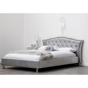 Sleep Design Georgia Crushed Velvet Bed Frame in Silver -