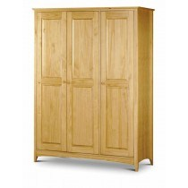 Julian Bowen Kendal Natural Solid Pine 3 Door Triple Wardrobe