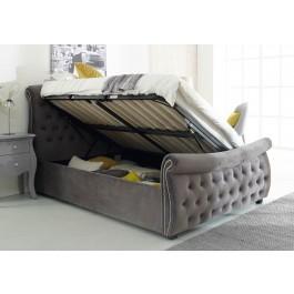 Flair Furnishings Lucinda Chesterfield Side Lift Ottoman Bed Silver Velvet