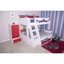 Flair Furnishings Flick Triple Bunk bed Red And White