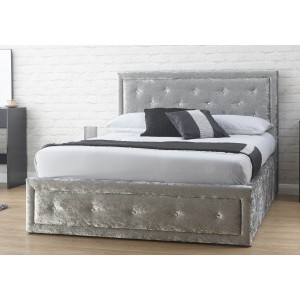 GFW Hollywood Crushed Velvet Ottoman Bed Frame-
