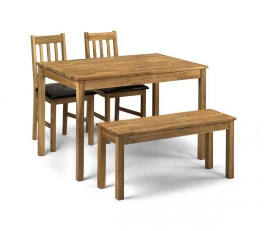 Julian Bowen rectangular Coxmoor Oak Dining Set (2 Chairs + bench)-