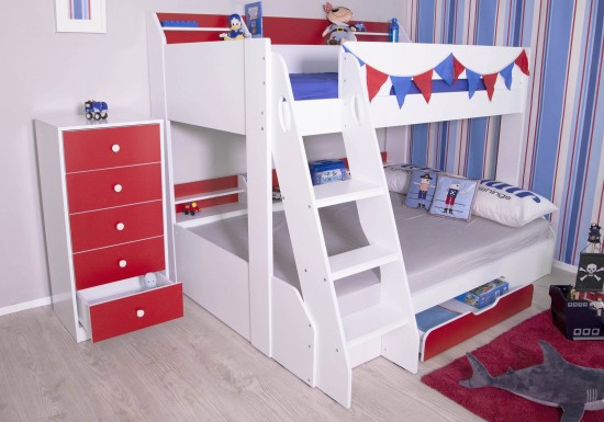 Flair Furnishings Flick Triple Bunk Bed Red And White-color Maple