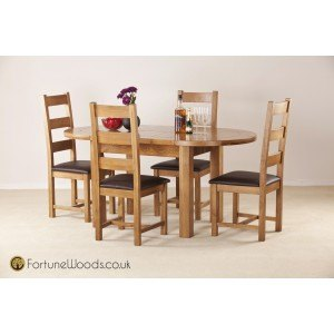 Fortune Wood Rustic Small D-End Extending Table-
