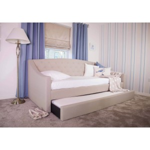 Flair Furnishings Aurora Fabric Daybed With Trundle Mink-