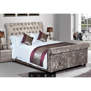 Ambers International Downton Mink Crushed Velvet Bed Frame-