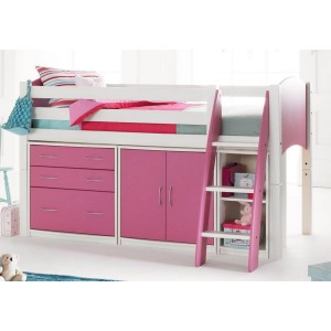Scallywag Cabin Bed with Chest of Drawers, Cupboards and Shelving Unit-