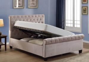 Flair Furnishings Lola Fabric Upholstered Sleigh Ottoman Bed Mink-
