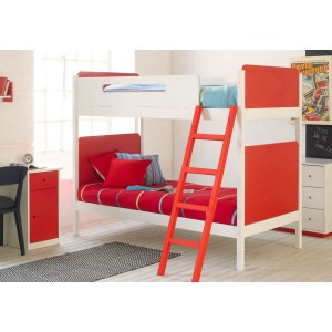 Little Folks Furniture Simple Bunk Bed in White and Red-