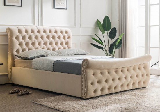 Flair Furnishings Lucinda Chesterfield Side Lift Ottoman Bed-color Oatmeal