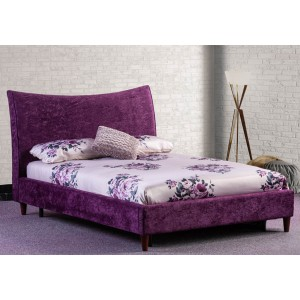 Poppy Bed Frame- Shown in Textured Velvet Plum