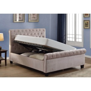 Flair Furnishings Lola Fabric Upholstered Sleigh Ottoman Bed Mink-