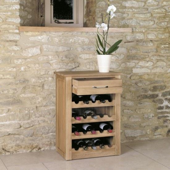 Baumhaus Mobel Oak Wine Rack Lamp Table-color Oak