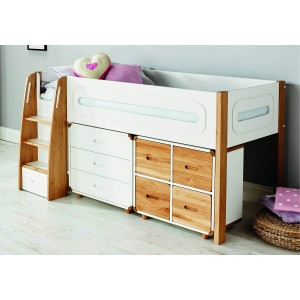 Stompa Radius Midsleeper With 3 Drawer Chest And Cube Unit With 2 Doors-