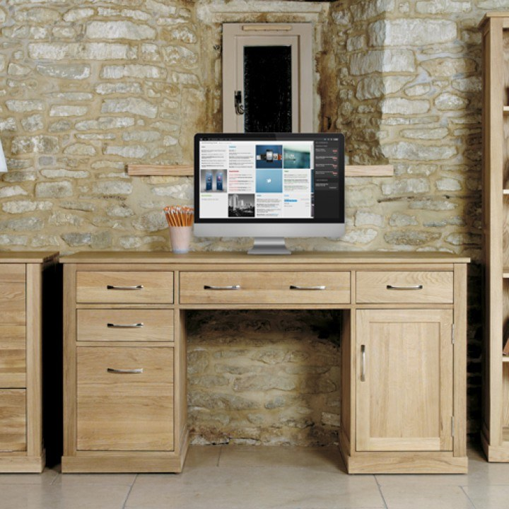 Picture mobel oak large hidden Computer Desk Bed Kingdom Baumhaus Mobel Oak Large Hidden Office Twin Pedestal Desk
