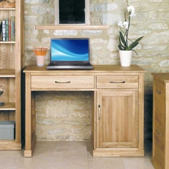 Baumhaus Mobel Oak Single Pedestal Computer Desk-