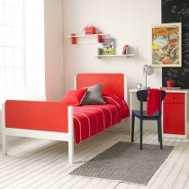 Little Folks Furniture Simple Bed Frame in White and Red-
