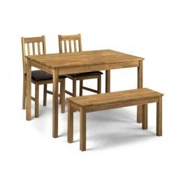 Julian Bowen rectangular Coxmoor Oak Dining Set (2 Chairs + bench)