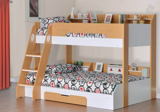 Flair Furnishings Flick Triple Bunk Bed Maple-color Maple