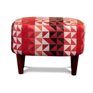 Tub Stool - Shown in Athens Claret Fabric