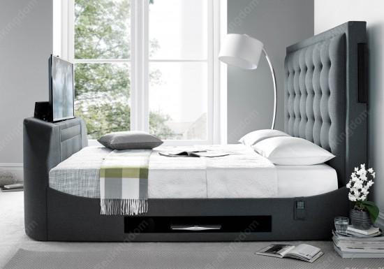 Kaydian Titan Fabric Media TV Bed Frame -color Grey