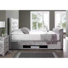 Kaydian Barnard Fabric Ottoman Multimedia Bed Frame in Silver Crushed Velvet