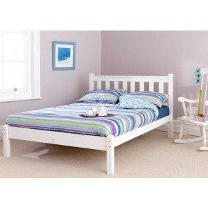 Friendship Mill Shaker White Wooden Bed Frame