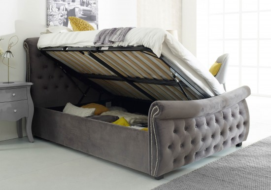 Flair Furnishings Lucinda Chesterfield Side Lift Ottoman Bed Silver Velvet-color Oatmeal