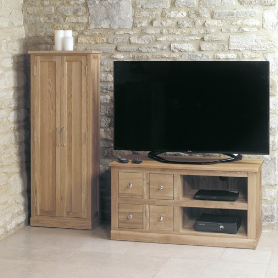 Baumhaus Mobel Oak Four Drawer Television Cabinet-color Oak