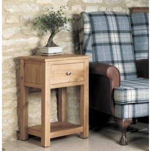 Baumhaus Mobel Oak One Drawer Lamp Table-