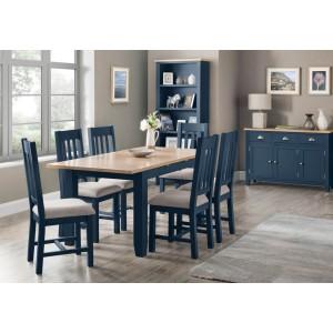 Julian Bowen Richmond Midnight Blue Table and 6 Dining Chair Set-