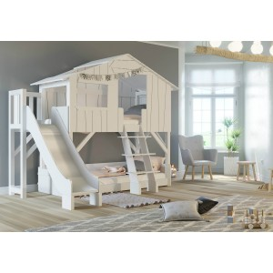 Mathy By Bols Treehouse Bunk Bed With Platform & Slide - White